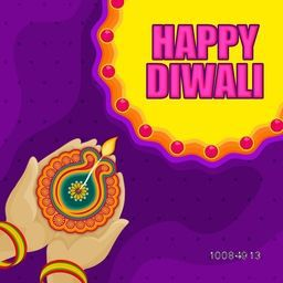 Creative illustration of woman hands holding illuminated oil lit lamp (Diya) on stylish colorful backgrond, Beautiful Greeting Card for Indian Festival of Lights, Happy Diwali celebration.