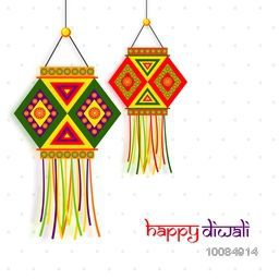 Beautiful Indian Festival background decorated with colorful traditional hanging Lamps (Kandil), Elegant Greeting Card design for Happy Diwali celebration.