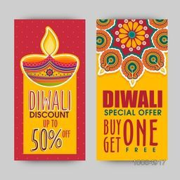 Diwali Special Offer Sale with Discount upto 50%, Creative website banner set, Traditional festive background with illuminated lamps (Diya), Indian Festival of Lights, Happy Diwali celebration concept.