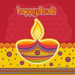 Creative illuminated oil lit lamp with floral decoration, Indian Festival background, Beautiful Greeting Card design for Festival of Lights, Happy Diwali celebration.