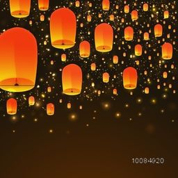 Beautiful glowing sky lanterns floating on shiny brown background.