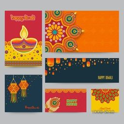Social Media Post, Header or Banner set, Creative background with illuminated oil lamps, floral rangoli and sky lanterns decoration, Concept for Indian Festival of Lights, Happy Diwali celebration.