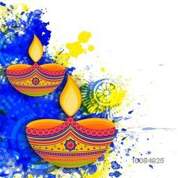 Creative floral illuminated oil lit lamps on watercolor splash, Beautiful festive background with space for text, Happy Diwali Greeting Card, Hindu Community Festival of Lights celebration concept.