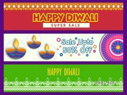 Happy Diwali Super Sale with 50% Discount Offer, Creative website header or banner set, Colorful Sale Background with illuminated lit lamps (Diya) and floral decoration for Hindu Community Festival of Lights celebration.