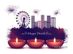 Glossy Illuminated Oil Lit Lamps on urban city background, Vector Greeting Card for Indian Festival of Lights Celebration.