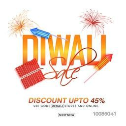 Diwali Sale Poster, Bumper Dhamaka Sale Flyer or Banner, Vector Clearance Offer illustration with colourful Firecrackers, Discount Upto 45% Off for Festival of Lights Celebration.