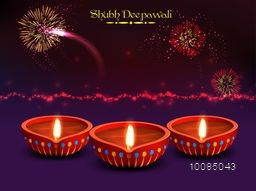 Elegant Diwali Festival Background with Glowing Fireworks, Vector Realistic Illuminated Oil Lit Lamps, Beautiful Greeting Card for Indian Festival of Lights Celebration.