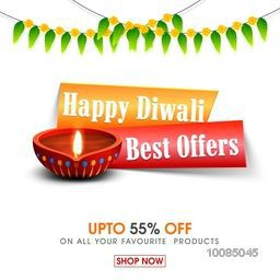 Diwali Sale Flyer, Best Offers Banner, Bumper Dhamaka Sale Background or Poster, Discount Upto 55% Off, Vector illustration with Illuminated Oil Lit Lamp for Festival of Lights.