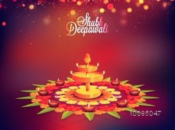 Elegant Traditional Festive Background, Creative Beautiful Rangoli with Illuminated Lit Lamps, Vector shiny illustration for Indian Festival of Lights, Shubh Deepawali Celebration.