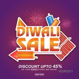 Diwali Sale Offer Flyer, Bumper Dhamaka Poster, Clearance Discount Banner, Creative Promotional Vector Illustration with colourful Firecrackers for Indian Festival of Lights Celebration.