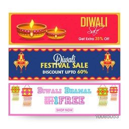 Set of three, Sale Website Header or Banner with stylized Lit Lamps and Kandils. Diwali Sale, Special Offer. Vector illustration for promotion and advertisement.