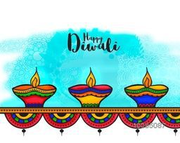 Beautiful Greeting Card with colourful floral Lit Lamps, Vector Illustration for Indian Festival of Lights, Happy Diwali Celebration.