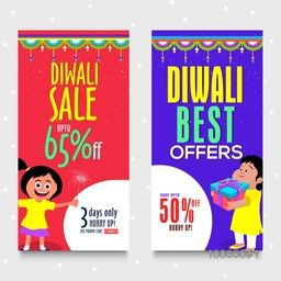 Collection of two Diwali Sale, Vertical Web Banners with cute characters. Special Offer. Vector Illustration.