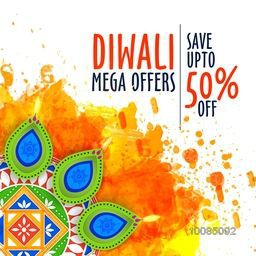 Diwali Mega Offers Flyer, Best Bumper Dhamaka Banner, Clearance Sale Poster, Save Upto 50% Off, Vector Illustration with creative Lit Lamps on splash.
