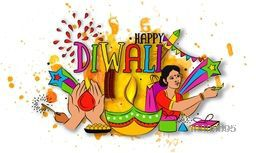 Colourful Text Diwali with Sweets, Firecrackers, Indian Woman and Other Elements, Creative Vector Illustration for Festival of Lights Celebration.