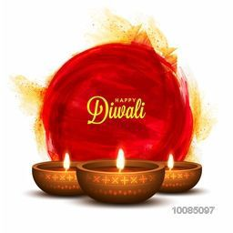 Glossy Illuminated Oil Lit Lamps on abstract paint stroke, Creative Diwali Festive Background, Beautiful Greeting Card, Vector Illustration for Indian Festival of Lights Celebration.