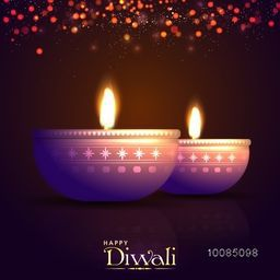 Creative Illuminated Oil Lit Lamps, Elegant shiny Diwali Background, Vector Illustration for Indian Festival of Lights Celebration. Beautiful Greeting Card.