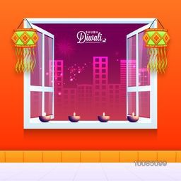 Glossy Illuminated Oil Lit Lamps (Kandils) decorated Window, Beautiful outside view of night city fireworks background for Indian Festival of Lights, Diwali Celebration.