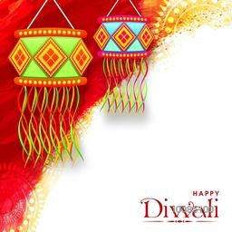 Colourful Diwali Lamps (Kandil), Vector Festive Background with paint stroke and Rangoli, Beautiful Greeting Card for Indian Festival of Lights Celebration.
