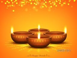 Glowing Illuminated Oil Lit Lamps on beautiful Rangoli, Elegant Diwali Background, Creative Greeting Card, Vector Illustration for Indian Festival of Lights Celebration.