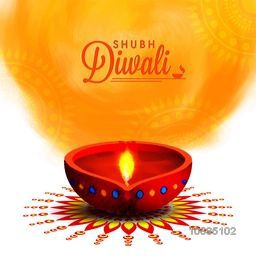 Creative Illuminated Oil Lit Lamp on floral Rangoli, Beautiful Greeting Card, Vector Illustration for Indian Festival of Lights, Happy Diwali Celebration.