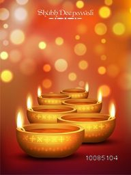 Elegant Religious Card design for Diwali Festival with beautiful golden Illuminated Lit Lamps. Vector illustration, Useable for Flyer, Banner or Pamphlet.