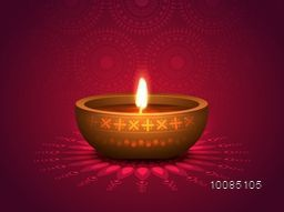 Realistic Illuminated Oil Lit Lamp on floral Rangoli, Vector Traditional Festive Background, Beautiful Greeting Card for Indian Festival of Lights, Happy Diwali Celebration.