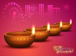 Glowing realistic, Illuminated Oil Lit Lamps with Hindi Text Shubh Deepawali (Happy Diwali), Elegant Vector Background, Beautiful Greeting Card for Indian Festival of Lights.