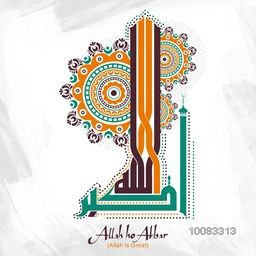 Creative Arabic Islamic Calligraphy of Wish (Dua) Allah-Ho-Akbar (Allah is Great), Beautiful floral design decorated, Greeting Card for Muslim Community Festivals celebration.