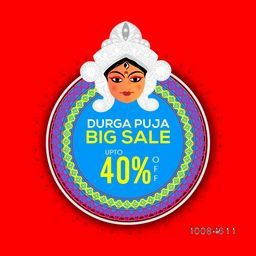 Durga Puja Big Sale with upto 40% Off, Beautiful background with illustration of Goddess Durga, Floral Sticker, Tag, Label design, Vector illustration for Indian Festival celebration.