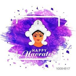 Happy Navratri background with illustration of Goddess Durga, Creative frame with watercolor brush stroke, Stylish Poster, Banner or Flyer for Indian Festival celebration.