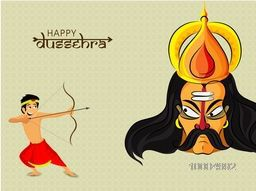 Cute Boy in traditional outfit, Taking aim with bow and arrow towards Ravana on occasion of Happy Dussehra celebration.