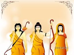 Hindu Lord Shri Rama with his wife Mata Sita and brother Laxman on shiny background for Indian Festival, Happy Dussehra celebration.