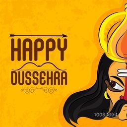 Happy Dussehra Festival background with illustration of Angry Ravana Face, Can be used as Poster, Banner or Flyer design.