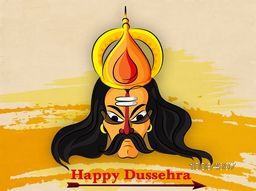 Angry Ravana Face on abstract background for Indian Festival, Happy Dussehra celebration.