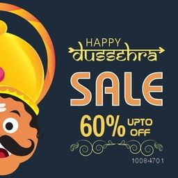 Happy Dussehra Sale with Upto 60% Discount Offer, Creative illustration of Ravana Face, Can be used as Poster, Banner or Flyer design.