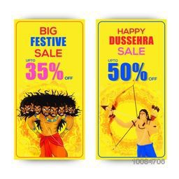 Big Festive Sale with 35% Off, Happy Dussehra Sale Website Banner set, Vector illustration of Lord Rama and Angry Ravana.