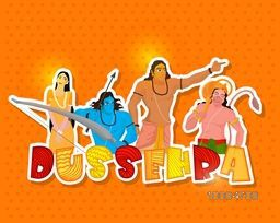 Creative sticky design with colourful text Dussehra and illustration of Lord Rama, Laxman, Hanuman and Goddess Sita on shiny orange background.