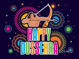 Colourful Text Happy Dussehra with illustration of Lord Rama holding bow and arrow on colorful abstract background, Can be used as Poster, Banner or Flyer design.