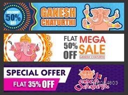 Sale website header or banner set, Mega Sale with 50% Discount Offer, Special Offer Sale, Creative background with illustration of Lord Ganesha, Concept for Indian Festival, Ganesh Chaturthi celebration.