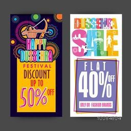Happy Dussehra Sale with Flat Discount Offer, Creative website banner set, Colourful abstract background for Indian Festival celebration.