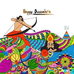 Creative colourful doodle style illustration for Happy Dussehra celebration, Hindu Mythological Lord Rama taking aim towards Ravana, Indian Festival concept.