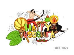 Colourful Text Happy Dussehra with illustration of Sona Patta (Golden Leaf), Mace (Gada), Lord Rama, Ravana and other elements, Can be used as Poster, Banner or Flyer design for Indian Festival celebration.