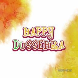 Stylish Text Happy Dussehra on abstract colourful background with hanging masks, Creative Poster, Banner or Flyer design for Indian Festival celebration.