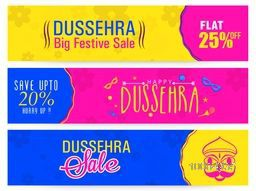 Dussehra Big Festive Sale with Flat Discount Offer, Creative colourful website header or banner set, Indian Festival concept.
