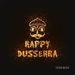 Golden Glittering Text Happy Dussehra and Ravana Face, Creative Poster, Banner or Flyer design for Indian Festival celebration.