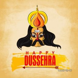 Creative Poster, Banner or Flyer design with illustration of Angry Ravana Face for Indian Festival, Happy Dussehra celebration.