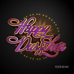 Creative Glossy Text Happy Dussehra on beautiful floral pattern background, Elegant Poster, Banner or Flyer design, Vector illustration for Indian Festival celebration.