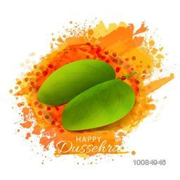 Glossy Sona Patta (Golden Leaf) on abstract watercolor background for Indian Festival, Happy Dussehra celebration.
