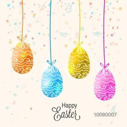 Beautiful floral design decorated colorful glossy hanging Eggs on confetti background for Happy Easter celebration.